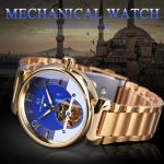 Luxury Dial Design Small Skeleton Display Golden Stainless Steel Mens Automatic Watches